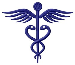 Abstract Caduceus embroidery design