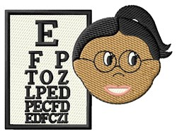 Lady & Eye Chart embroidery design