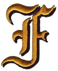 Old English F embroidery design