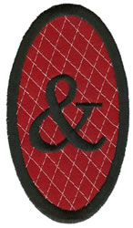 Oval Applique Ampersand embroidery design