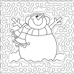 Snowman Quilt Block Embroidery Design