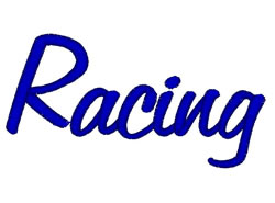 Racing embroidery design