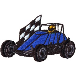 Non-Winged Sprint Car embroidery design