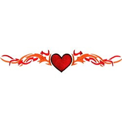 Heart Tribal Flame embroidery design