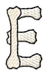 Bones Letter E embroidery design