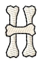 Bones Letter H embroidery design