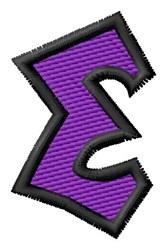 Pointed Purple E embroidery design