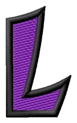 Pointed Purple L embroidery design