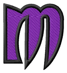 Pointed Purple M embroidery design