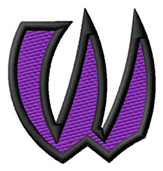 Pointed Purple W embroidery design