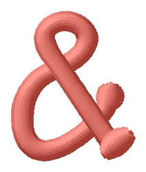 Dot Font Ampersand embroidery design