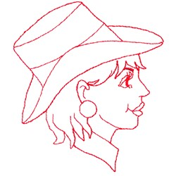 Lady Redwork embroidery design