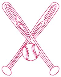 Crossed Bats embroidery design
