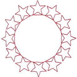 Circle Of stars embroidery design