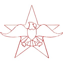 Star with Eagle embroidery design