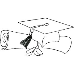 Cap and Diploma embroidery design
