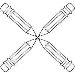 Four pencils embroidery design