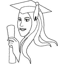 Girl graduate embroidery design