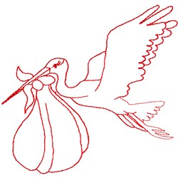 Stork with Baby embroidery design
