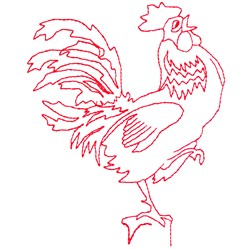 Rooster Redwork embroidery design