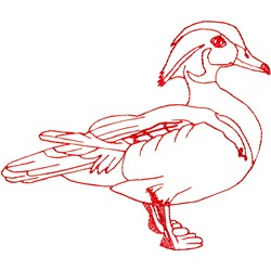 Wood Duck Ragwork embroidery design