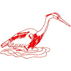 Heron Ragwork embroidery design