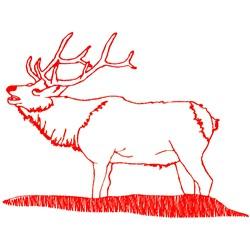 Elk Redwork embroidery design