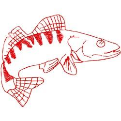 Walleye Ragwork embroidery design