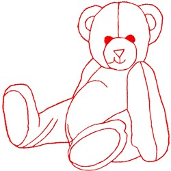 Teddy Bear Redwork embroidery design