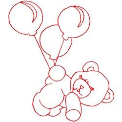 Flying Teddy Ragwork embroidery design