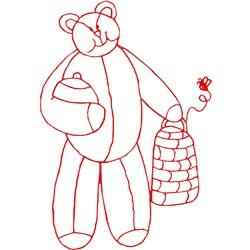 Honey Bear Ragwork embroidery design