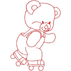 Roller Skating Bear embroidery design