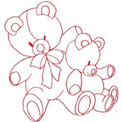 Bear Buddies Redwork embroidery design