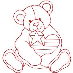 Bear Heart Ragwork embroidery design