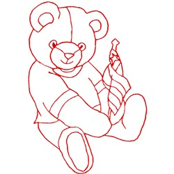 Bear with flag embroidery design