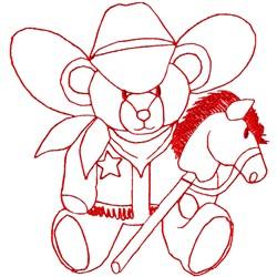Cowboy Bear Redwork embroidery design