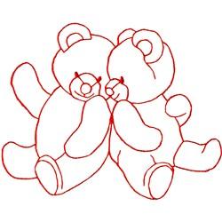 Twin Bears Ragwork embroidery design