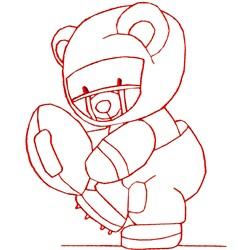 Football Bear Redwork embroidery design