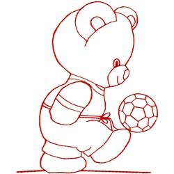 Soccer Bear Redwork embroidery design