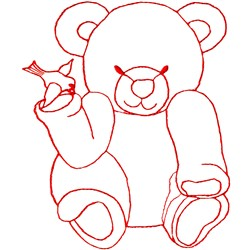 Bear with Bird Ragwork embroidery design
