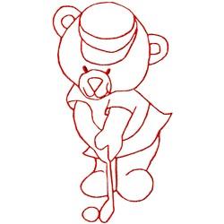 Golfing Bear Ragwork embroidery design