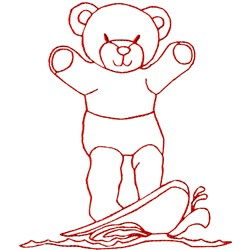 Surfing Bear Ragwork embroidery design