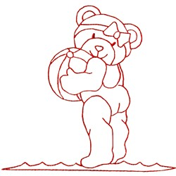 Bathing Beauty Bear embroidery design