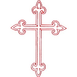 Ornamental Cross Redwork embroidery design