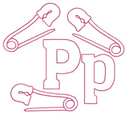 Pins P embroidery design