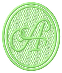 Oval Letter A embroidery design