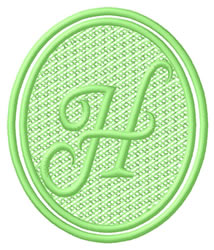 Oval Letter H embroidery design