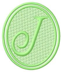 Oval Letter J embroidery design