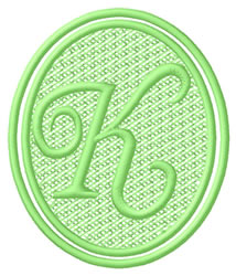 Oval Letter K embroidery design