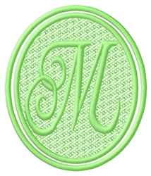 Oval Letter M embroidery design